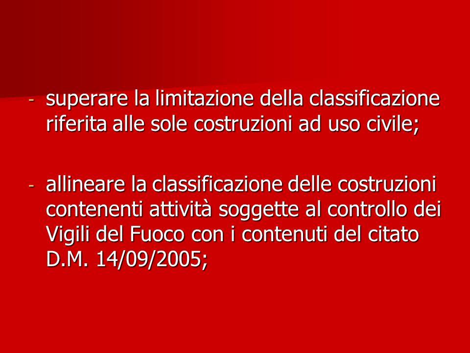 - superare la limitazione della classificazione riferita alle sole costruzioni ad uso civile; - allineare la classificazione delle costruzioni contene