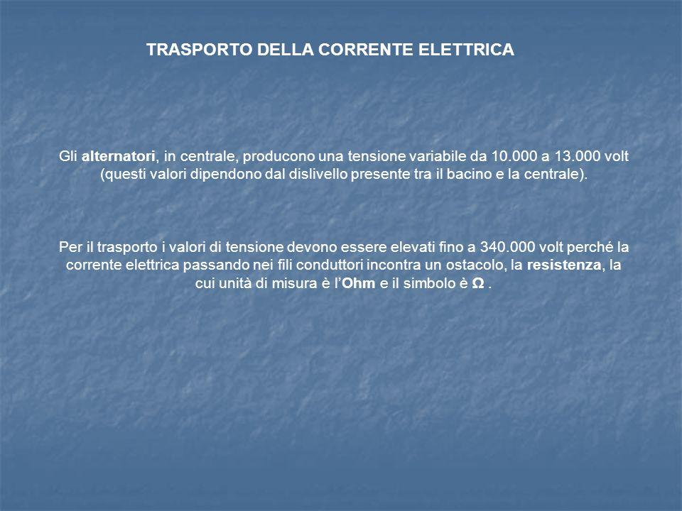 TRASPORTO DELLA CORRENTE ELETTRICA Gli alternatori, in centrale, producono una tensione variabile da 10.000 a 13.000 volt (questi valori dipendono dal dislivello presente tra il bacino e la centrale).