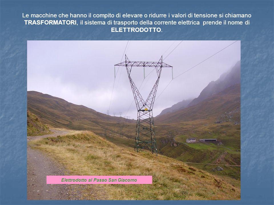 Le macchine che hanno il compito di elevare o ridurre i valori di tensione si chiamano TRASFORMATORI, il sistema di trasporto della corrente elettrica prende il nome di ELETTRODOTTO.