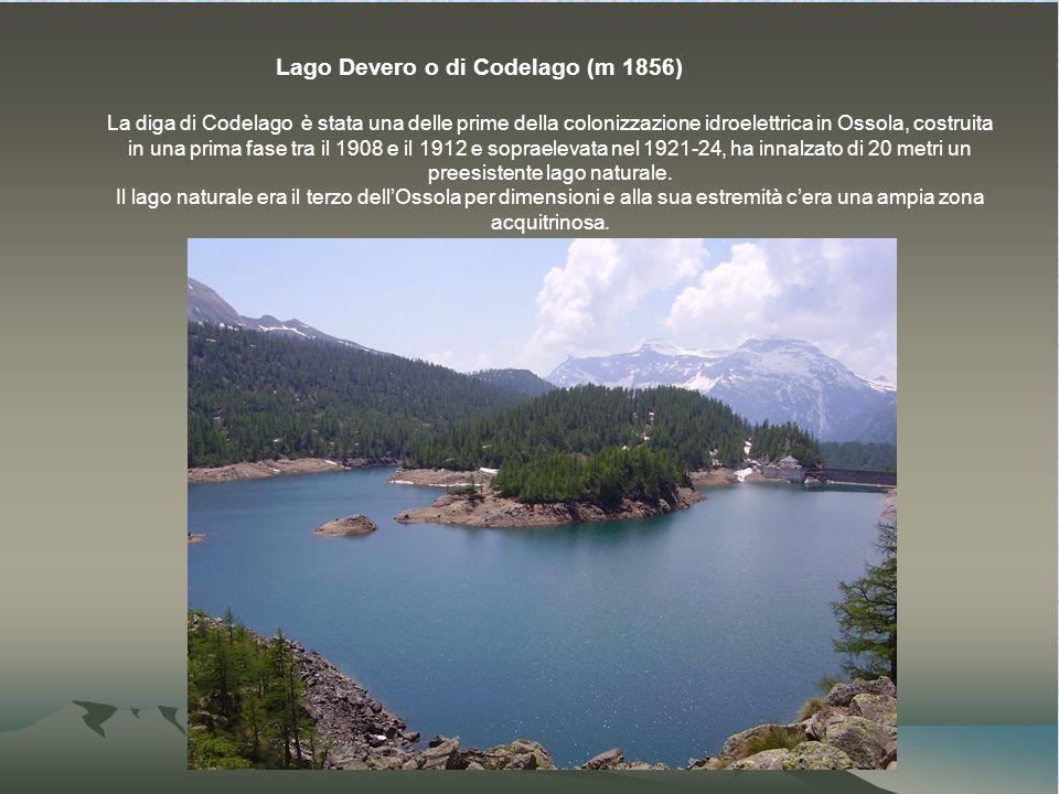 Lago Devero o di Codelago (m 1856) La diga di Codelago è stata una delle prime della colonizzazione idroelettrica in Ossola, costruita in una prima fase tra il 1908 e il 1912 e sopraelevata nel 1921-24, ha innalzato di 20 metri un preesistente lago naturale.