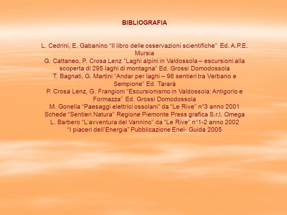 BIBLIOGRAFIA L.Cedrini, E. Gabanino Il libro delle osservazioni scientifiche Ed.