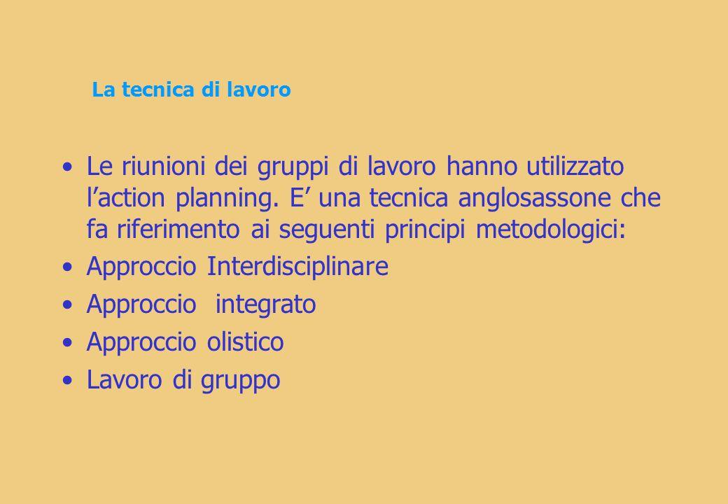 La tecnica di lavoro Le riunioni dei gruppi di lavoro hanno utilizzato laction planning.