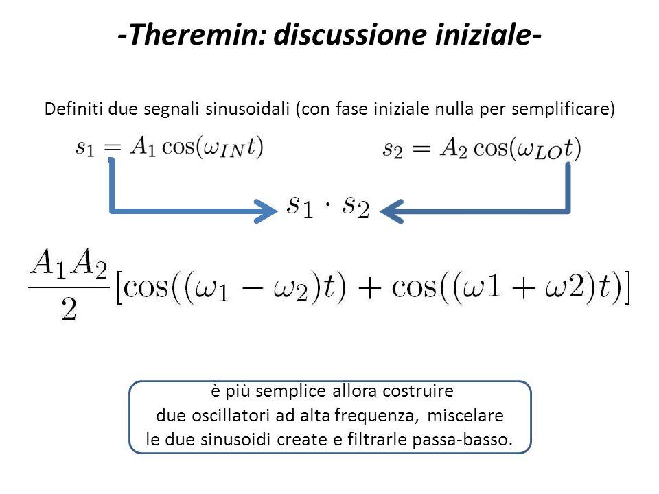 -Theremin: discussione iniziale- Definiti due segnali sinusoidali (con fase iniziale nulla per semplificare) è più semplice allora costruire due oscil