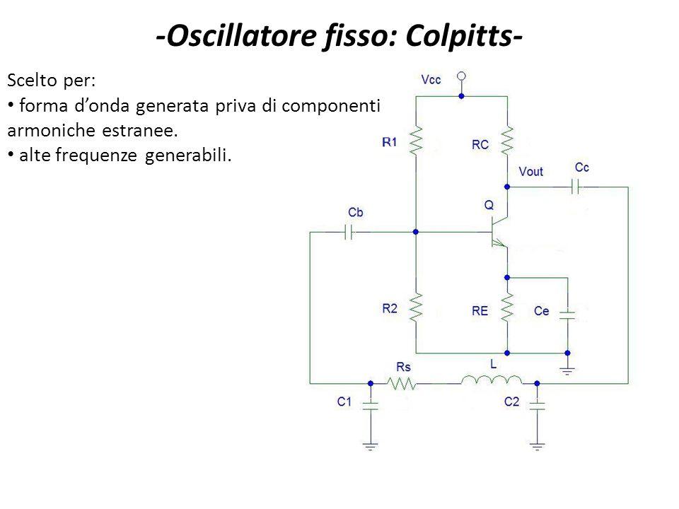 -Oscillatore fisso: Colpitts- Scelto per: forma donda generata priva di componenti armoniche estranee. alte frequenze generabili.