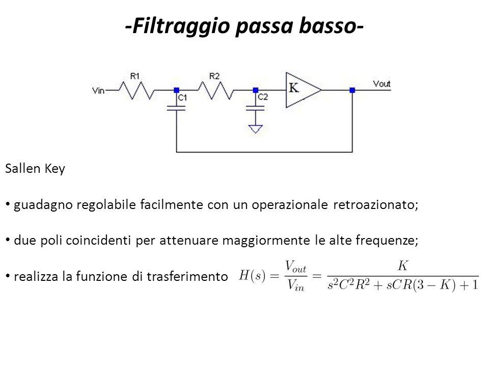 Sallen Key guadagno regolabile facilmente con un operazionale retroazionato; due poli coincidenti per attenuare maggiormente le alte frequenze; realiz