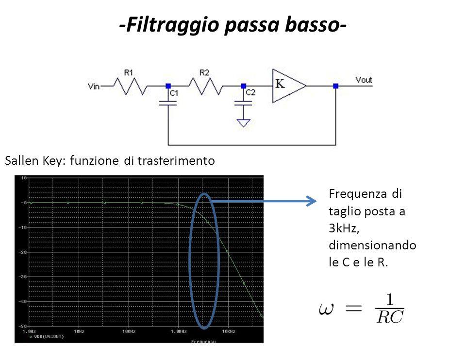 Sallen Key: funzione di trasferimento -Filtraggio passa basso- Frequenza di taglio posta a 3kHz, dimensionando le C e le R.