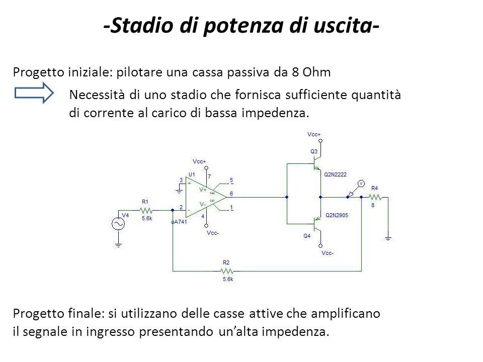 -Stadio di potenza di uscita- Progetto iniziale: pilotare una cassa passiva da 8 Ohm Necessità di uno stadio che fornisca sufficiente quantità di corr