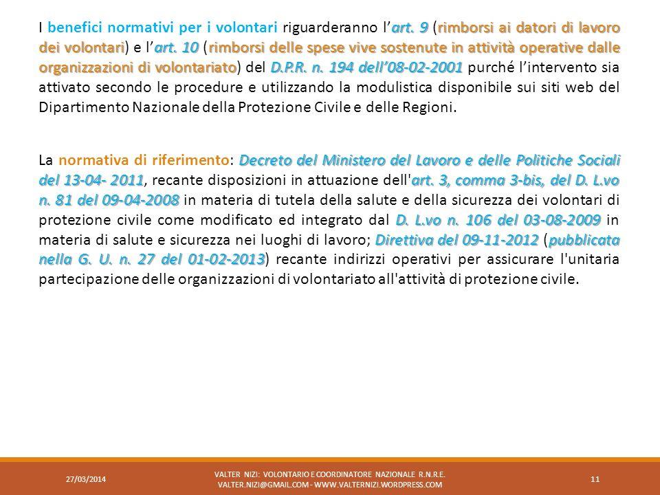 art. 9rimborsi ai datori di lavoro dei volontariart. 10rimborsi delle spese vive sostenute in attività operative dalle organizzazioni di volontariatoD