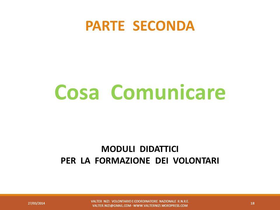 VALTER NIZI: VOLONTARIO E COORDINATORE NAZIONALE R.N.R.E. VALTER.NIZI@GMAIL.COM - WWW.VALTERNIZI.WORDPRESS.COM 18 PARTE SECONDA Cosa Comunicare MODULI