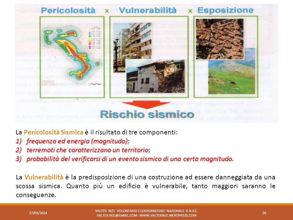 La Pericolosità Sismica è il risultato di tre componenti: 1)frequenza ed energia (magnitudo) 1)frequenza ed energia (magnitudo); 2)terremoti che carat