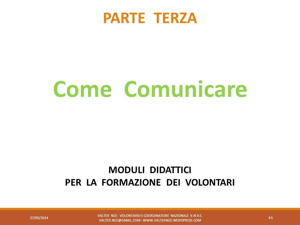 VALTER NIZI: VOLONTARIO E COORDINATORE NAZIONALE R.N.R.E. VALTER.NIZI@GMAIL.COM - WWW.VALTERNIZI.WORDPRESS.COM 43 PARTE TERZA Come Comunicare MODULI D
