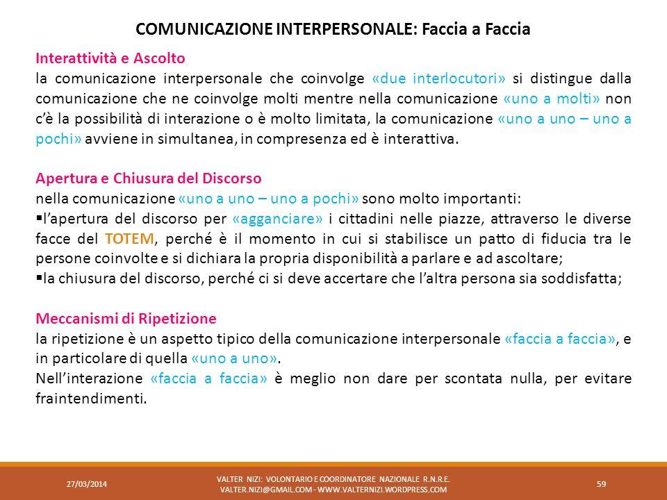 27/03/2014 VALTER NIZI: VOLONTARIO E COORDINATORE NAZIONALE R.N.R.E. VALTER.NIZI@GMAIL.COM - WWW.VALTERNIZI.WORDPRESS.COM 59 COMUNICAZIONE INTERPERSON