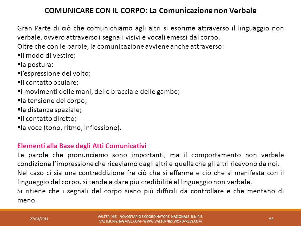 27/03/2014 VALTER NIZI: VOLONTARIO E COORDINATORE NAZIONALE R.N.R.E. VALTER.NIZI@GMAIL.COM - WWW.VALTERNIZI.WORDPRESS.COM 63 COMUNICARE CON IL CORPO: