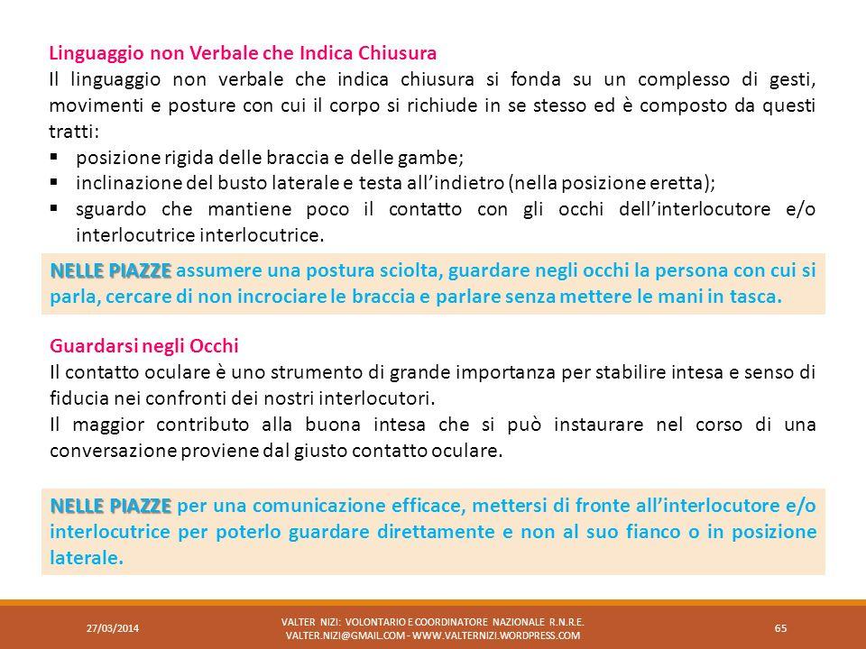 27/03/2014 VALTER NIZI: VOLONTARIO E COORDINATORE NAZIONALE R.N.R.E. VALTER.NIZI@GMAIL.COM - WWW.VALTERNIZI.WORDPRESS.COM 65 Linguaggio non Verbale ch