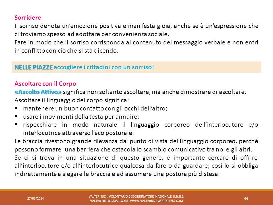 27/03/2014 VALTER NIZI: VOLONTARIO E COORDINATORE NAZIONALE R.N.R.E. VALTER.NIZI@GMAIL.COM - WWW.VALTERNIZI.WORDPRESS.COM 66 Sorridere Il sorriso deno