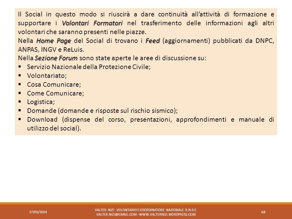 27/03/2014 VALTER NIZI: VOLONTARIO E COORDINATORE NAZIONALE R.N.R.E. VALTER.NIZI@GMAIL.COM - WWW.VALTERNIZI.WORDPRESS.COM 68 Volontari Formatori Il So
