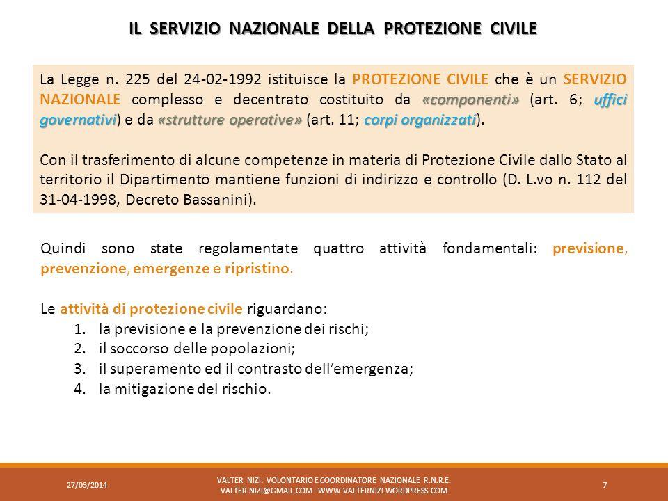 «componenti»uffici governativi«strutture operative»corpi organizzati La Legge n. 225 del 24-02-1992 istituisce la PROTEZIONE CIVILE che è un SERVIZIO