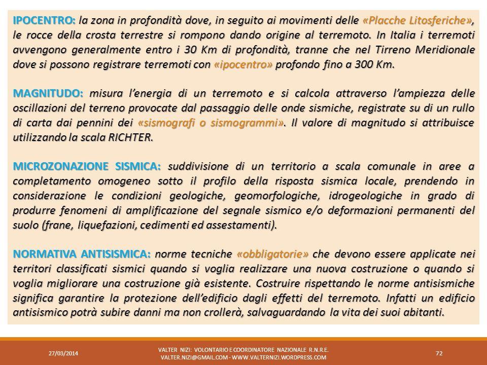 27/03/2014 VALTER NIZI: VOLONTARIO E COORDINATORE NAZIONALE R.N.R.E. VALTER.NIZI@GMAIL.COM - WWW.VALTERNIZI.WORDPRESS.COM 72 IPOCENTRO:la zona in prof