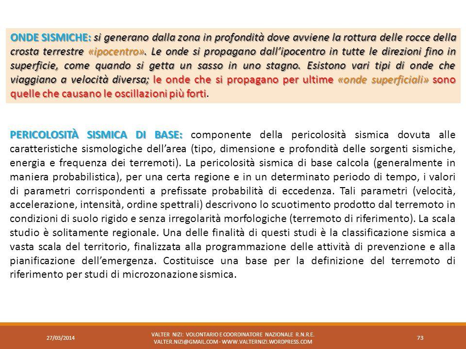 27/03/2014 VALTER NIZI: VOLONTARIO E COORDINATORE NAZIONALE R.N.R.E. VALTER.NIZI@GMAIL.COM - WWW.VALTERNIZI.WORDPRESS.COM 73 ONDE SISMICHE:si generano