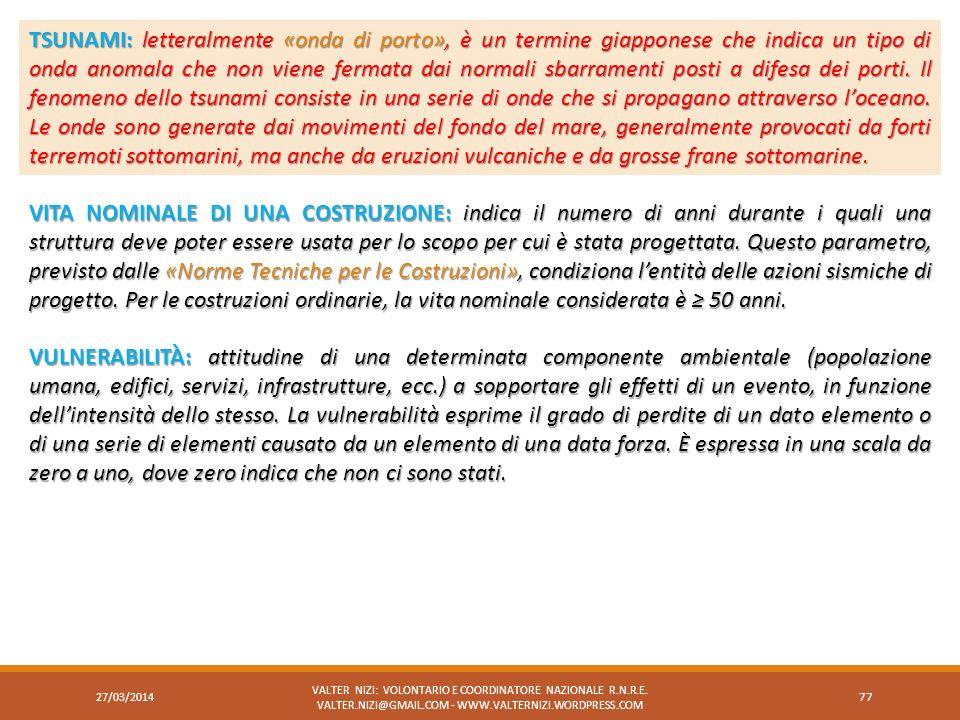 27/03/2014 VALTER NIZI: VOLONTARIO E COORDINATORE NAZIONALE R.N.R.E. VALTER.NIZI@GMAIL.COM - WWW.VALTERNIZI.WORDPRESS.COM 77 TSUNAMI:letteralmente «on