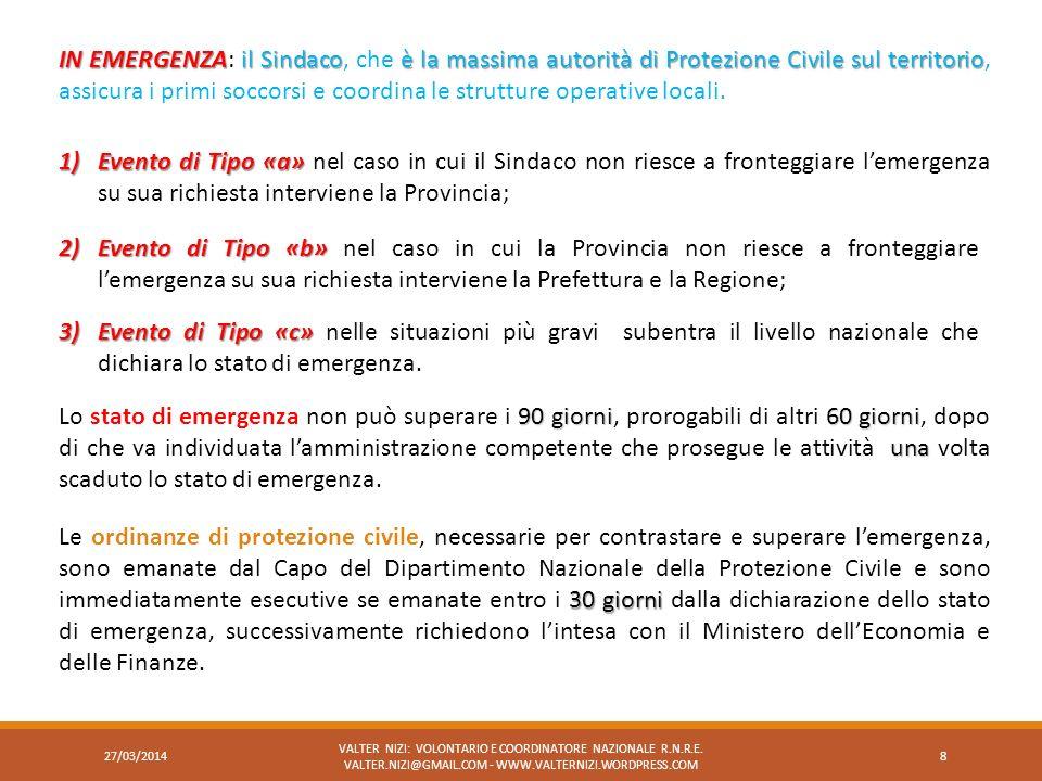 IN EMERGENZAil Sindacoè la massima autorità di Protezione Civile sul territorio IN EMERGENZA: il Sindaco, che è la massima autorità di Protezione Civi