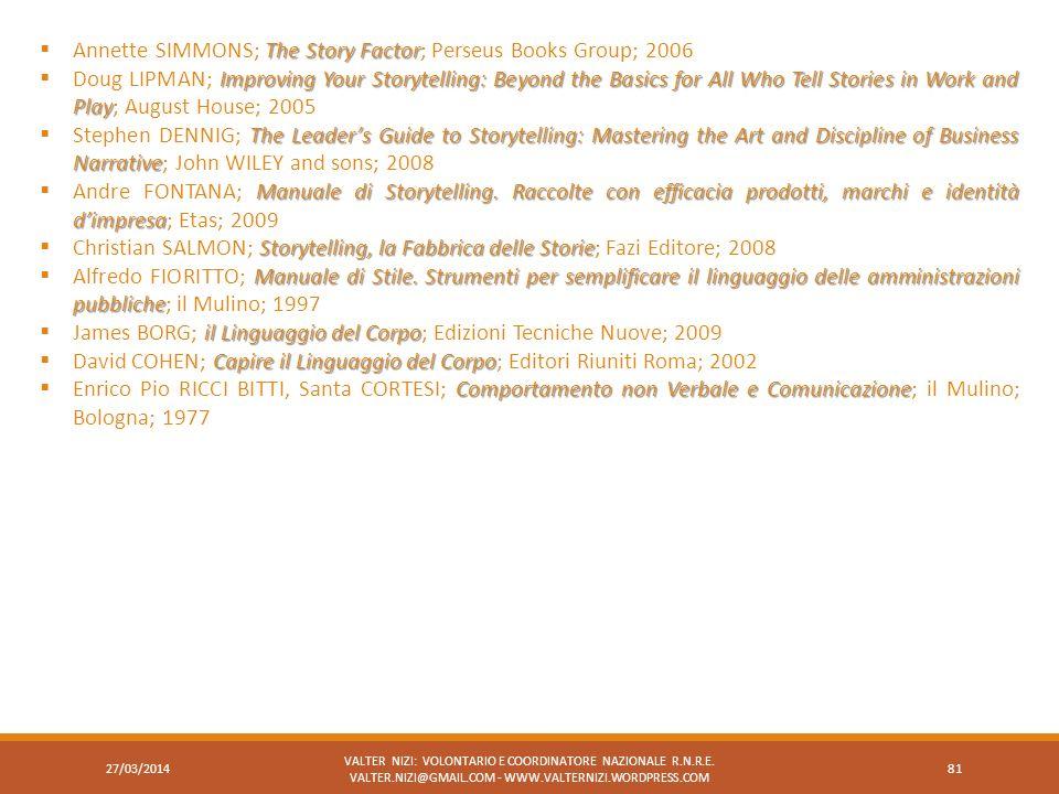 27/03/2014 VALTER NIZI: VOLONTARIO E COORDINATORE NAZIONALE R.N.R.E. VALTER.NIZI@GMAIL.COM - WWW.VALTERNIZI.WORDPRESS.COM 81 The Story Factor Annette