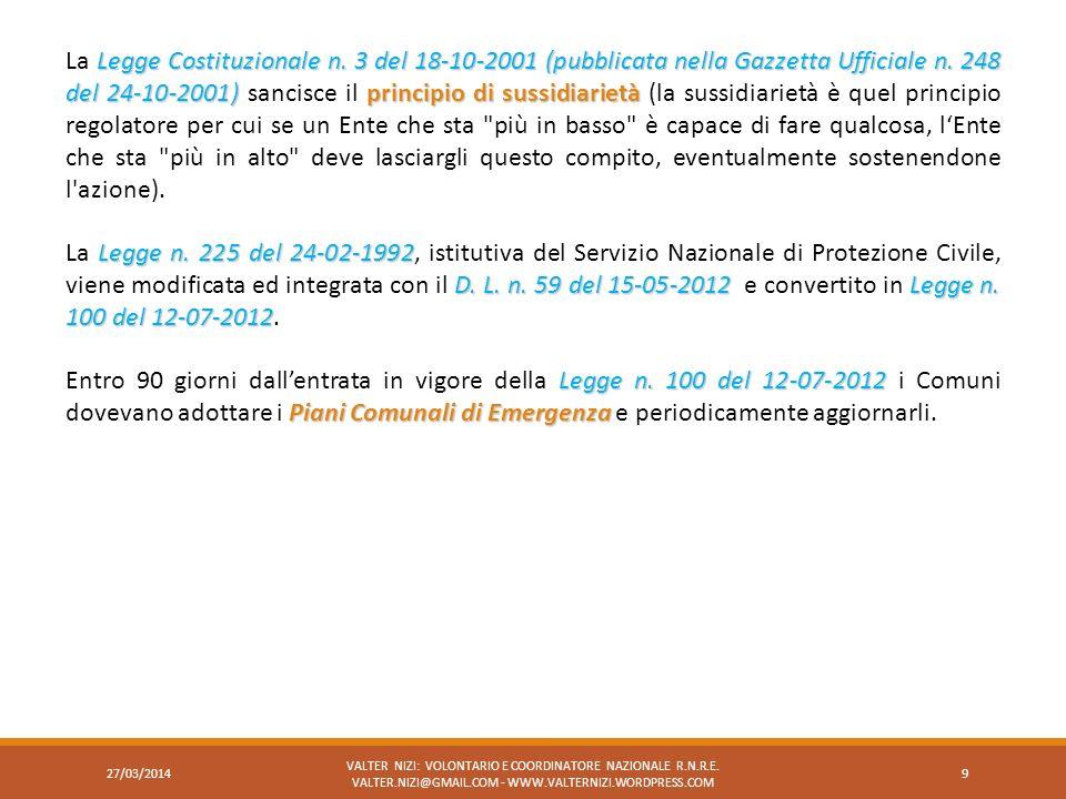 Legge Costituzionale n. 3 del 18-10-2001 (pubblicata nella Gazzetta Ufficiale n. 248 del 24-10-2001)principio di sussidiarietà La Legge Costituzionale