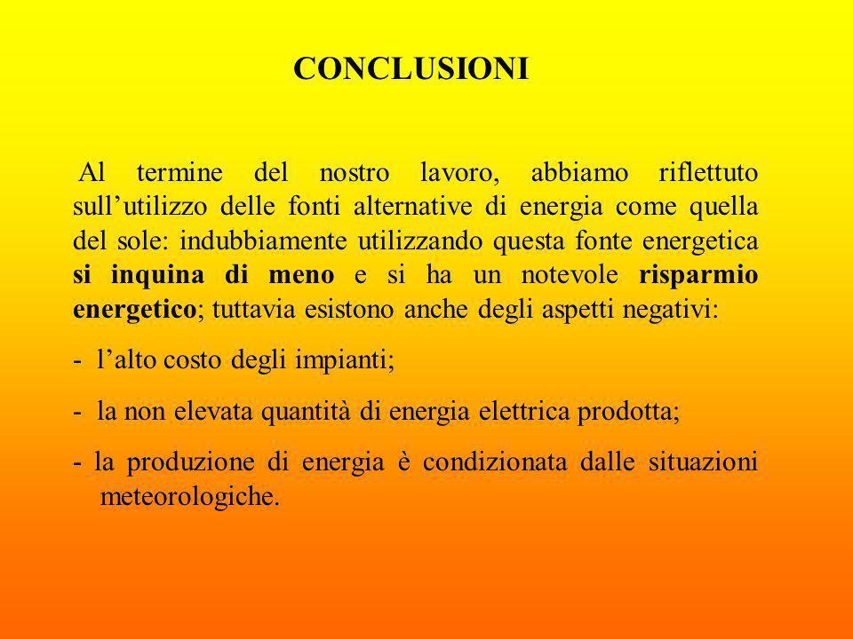 CONCLUSIONI Al termine del nostro lavoro, abbiamo riflettuto sullutilizzo delle fonti alternative di energia come quella del sole: indubbiamente utili