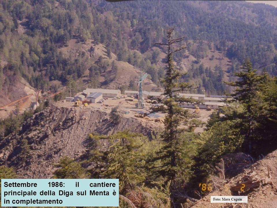 Settembre 1986: il cantiere principale della Diga sul Menta è in completamento Foto: Mara Cagnin