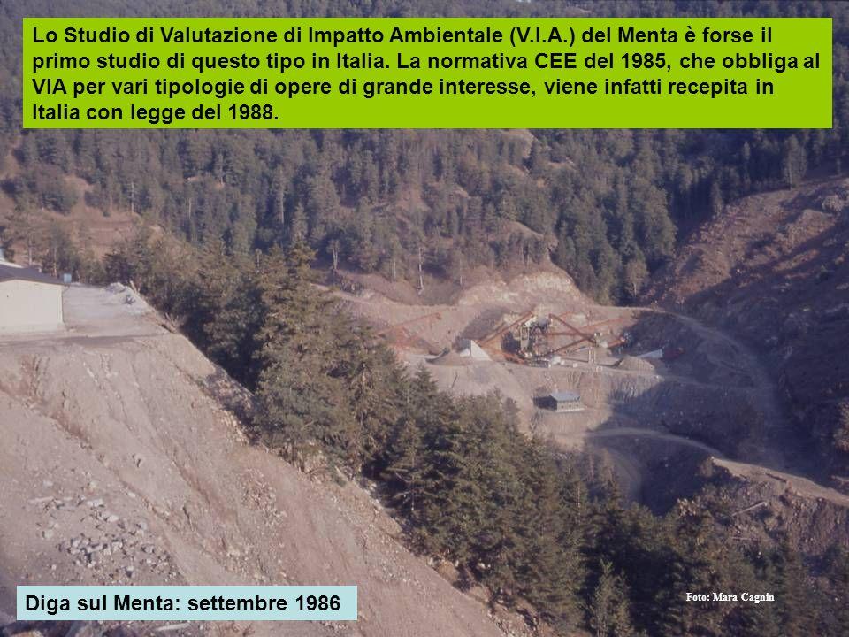 Diga sul Menta: settembre 1986 Foto: Mara Cagnin Lo Studio di Valutazione di Impatto Ambientale (V.I.A.) del Menta è forse il primo studio di questo t