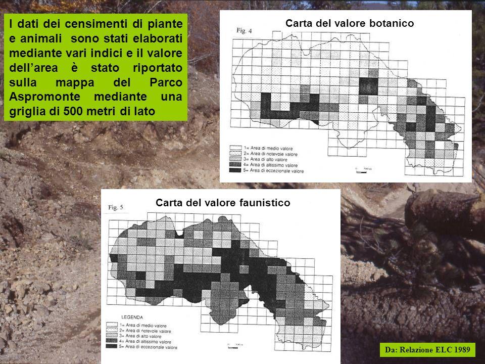 I dati dei censimenti di piante e animali sono stati elaborati mediante vari indici e il valore dellarea è stato riportato sulla mappa del Parco Aspro