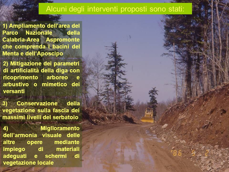1) Ampliamento dellarea del Parco Nazionale della Calabria-Area Aspromonte che comprenda i bacini del Menta e dellAposcipo Alcuni degli interventi pro