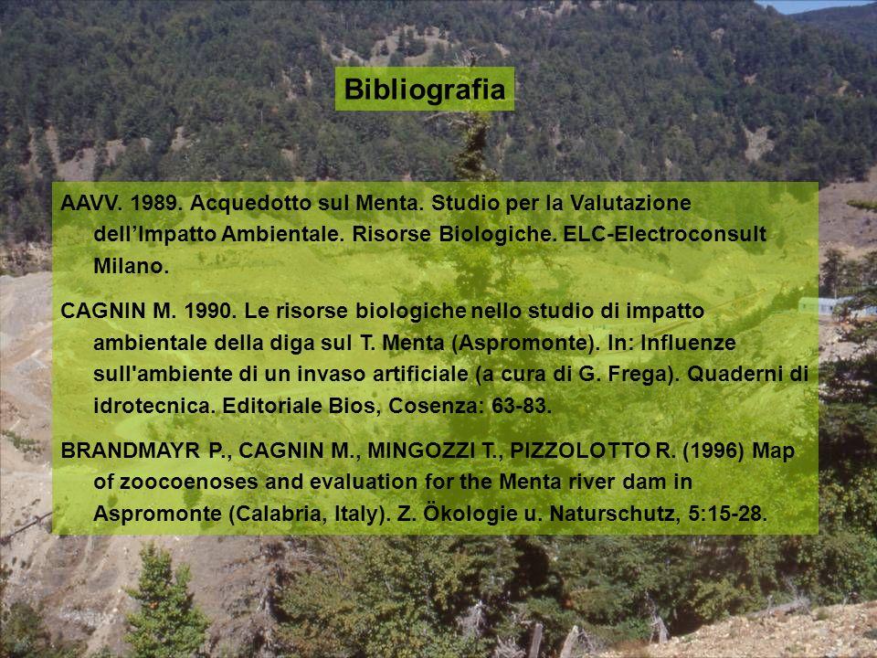 Bibliografia AAVV. 1989. Acquedotto sul Menta. Studio per la Valutazione dellImpatto Ambientale. Risorse Biologiche. ELC-Electroconsult Milano. CAGNIN