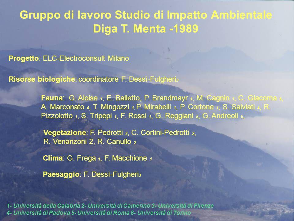 Risorse biologiche: coordinatore F. Dessì-Fulgheri 3 Gruppo di lavoro Studio di Impatto Ambientale Diga T. Menta -1989 Progetto: ELC-Electroconsult Mi