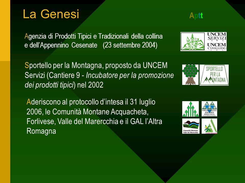 La Genesi A ptt Agenzia di Prodotti Tipici e Tradizionali della collina e dellAppennino Cesenate (23 settembre 2004) Aderiscono al protocollo dintesa il 31 luglio 2006, le Comunità Montane Acquacheta, Forlivese, Valle del Marercchia e il GAL lAltra Romagna Sportello per la Montagna, proposto da UNCEM Servizi (Cantiere 9 - Incubatore per la promozione dei prodotti tipici ) nel 2002