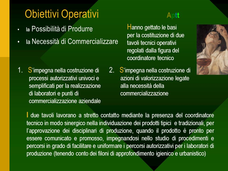 Obiettivi Operativi A ptt la Possibilità di Produrre la Necessità di Commercializzare H anno gettato le basi per la costituzione di due tavoli tecnici operativi regolati dalla figura del coordinatore tecnico 1.