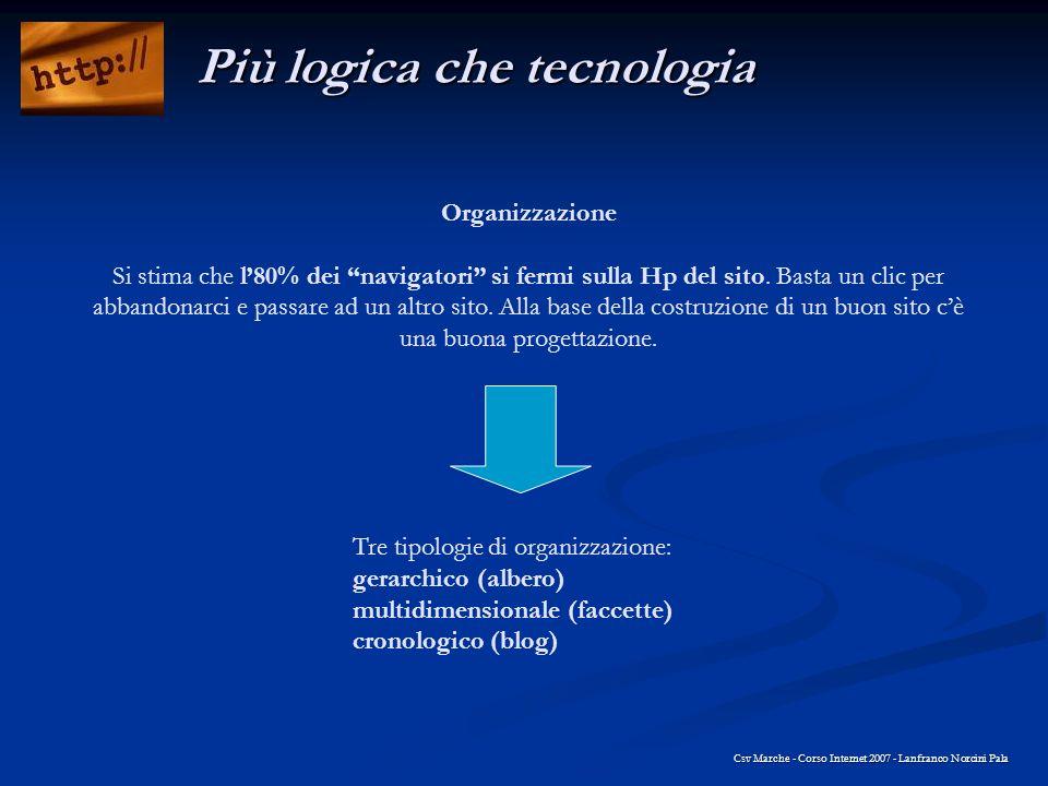 Organizzazione Si stima che l80% dei navigatori si fermi sulla Hp del sito. Basta un clic per abbandonarci e passare ad un altro sito. Alla base della