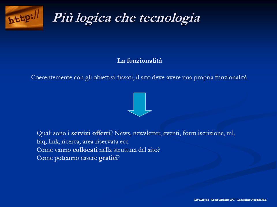 La funzionalità Coerentemente con gli obiettivi fissati, il sito deve avere una propria funzionalità. Csv Marche - Corso Internet 2007 - Lanfranco Nor