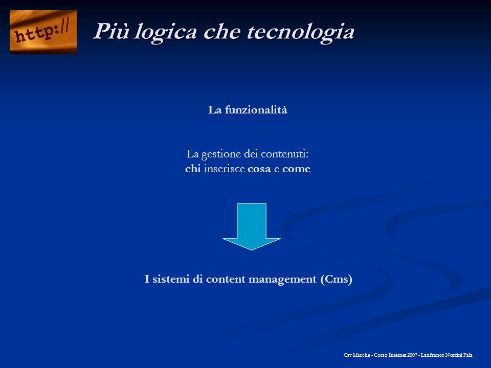 La funzionalità La gestione dei contenuti: chi inserisce cosa e come Csv Marche - Corso Internet 2007 - Lanfranco Norcini Pala Più logica che tecnolog