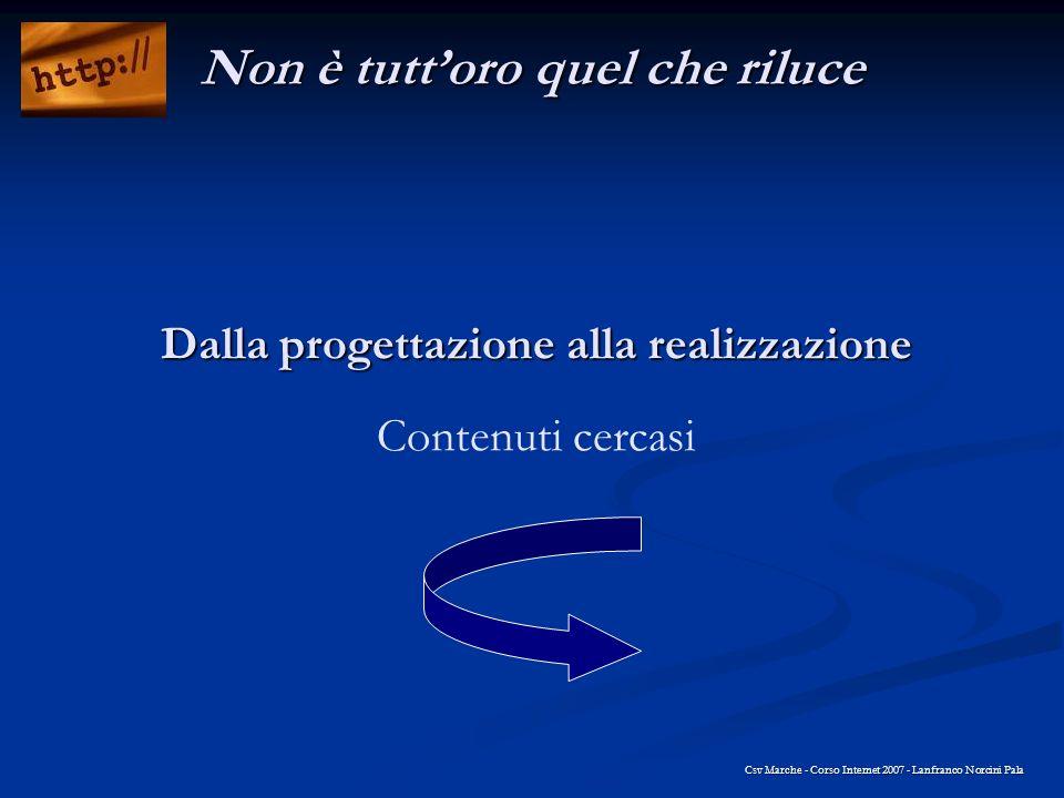 Dalla progettazione alla realizzazione Dalla progettazione alla realizzazione Contenuti cercasi Csv Marche - Corso Internet 2007 - Lanfranco Norcini P