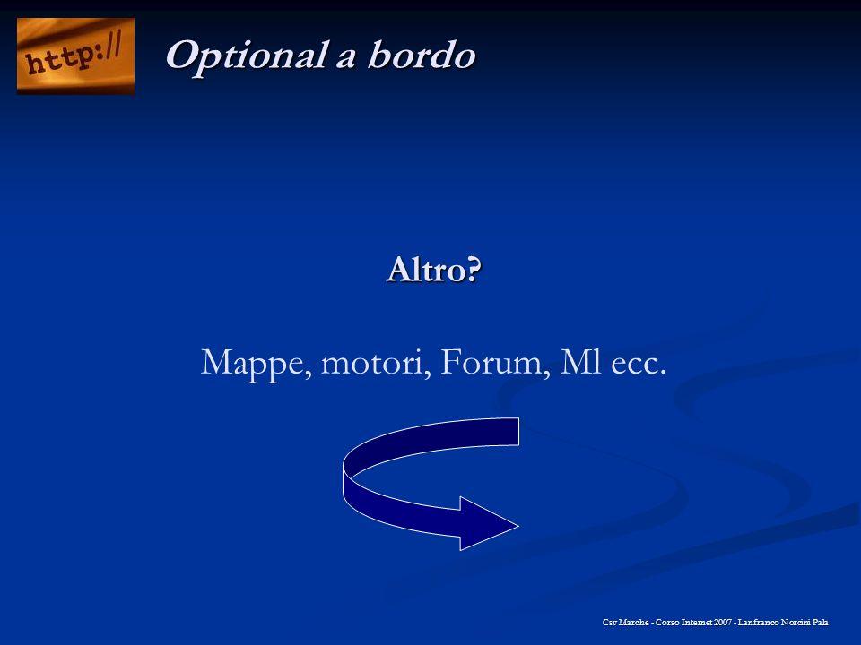Altro? Altro? Mappe, motori, Forum, Ml ecc. Csv Marche - Corso Internet 2007 - Lanfranco Norcini Pala Optional a bordo