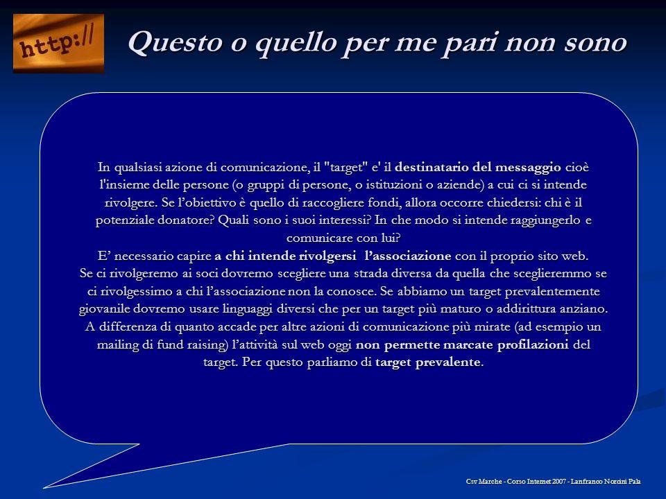 Qualche dritta Csv Marche - Corso Internet 2007 - Lanfranco Norcini Pala Non è tuttoro quel che riluce Testimonianze reali Autorevolezza Esperienza Affidabilità Cè qualcuno.