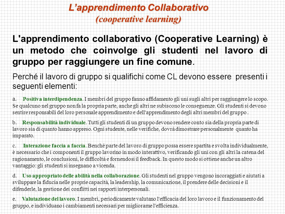 L'apprendimento collaborativo (Cooperative Learning) è un metodo che coinvolge gli studenti nel lavoro di gruppo per raggiungere un fine comune. Perch