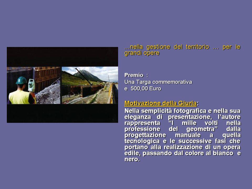 ...nella gestione del territorio … per le grandi opere Premio : Una Targa commemorativa e 500,00 Euro Motivazione della Giuria: Nella semplicità fotog