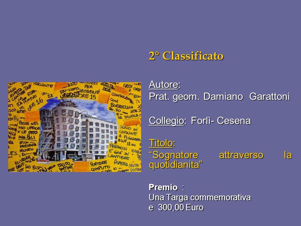 2° Classificato Autore: Prat. geom. Damiano Garattoni Collegio: Forlì- Cesena Titolo: Sognatore attraverso la quotidianita Premio : Una Targa commemor