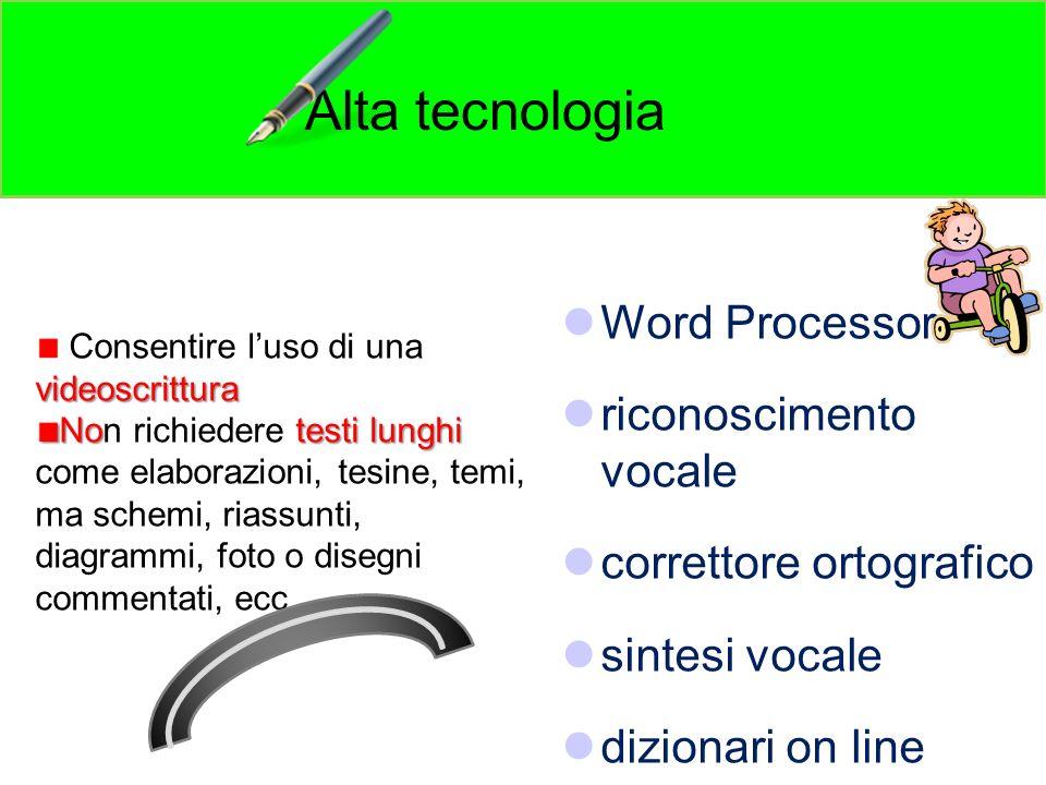 Word Processor riconoscimento vocale correttore ortografico sintesi vocale dizionari on line Alta tecnologia videoscrittura Consentire luso di una vid