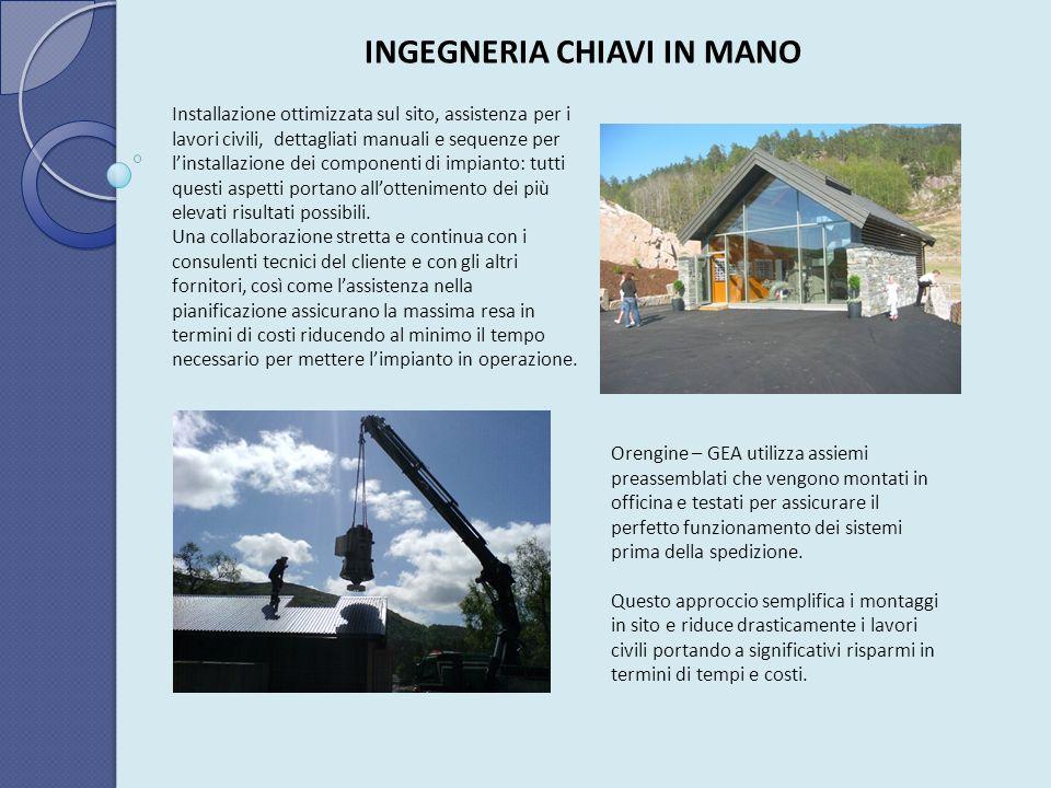 INGEGNERIA CHIAVI IN MANO Installazione ottimizzata sul sito, assistenza per i lavori civili, dettagliati manuali e sequenze per linstallazione dei co
