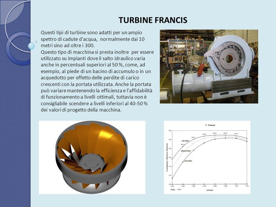 TURBINE FRANCIS Questi tipi di turbine sono adatti per un ampio spettro di cadute d'acqua, normalmente dai 10 metri sino ad oltre i 300. Questo tipo d