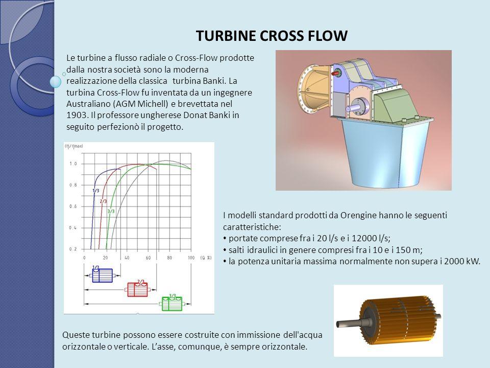TURBINE CROSS FLOW Le turbine a flusso radiale o Cross-Flow prodotte dalla nostra società sono la moderna realizzazione della classica turbina Banki.