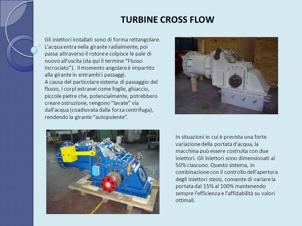 TURBINE CROSS FLOW Gli iniettori installati sono di forma rettangolare. Lacqua entra nella girante radialmente, poi passa attraverso il rotore e colpi
